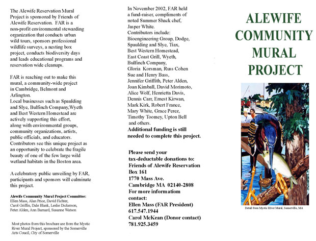 Alewife community mural project brochure for Community mural project