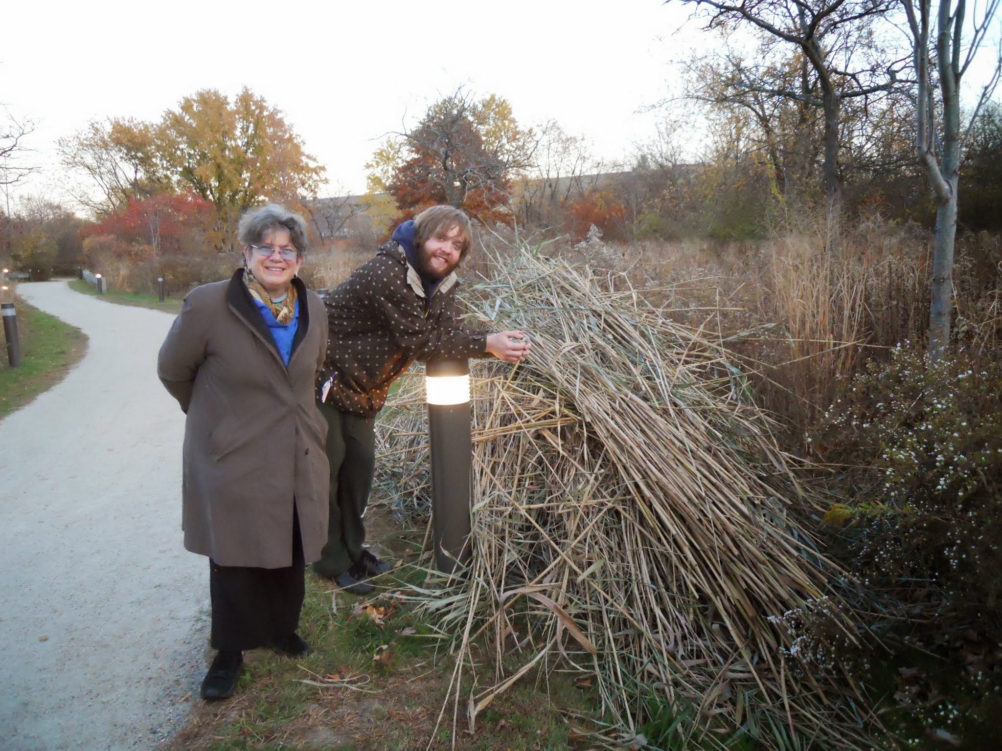 Ellen Mass and another volunteer on the Phragmites project